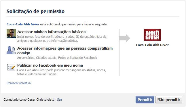Aplicativo da Coca-Cola pedindo permissão para acessar informações e fazer publicações