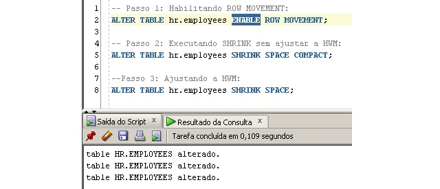 Passo-a-passo para executar o SHRINK na tabela HR.EMPLOYEES