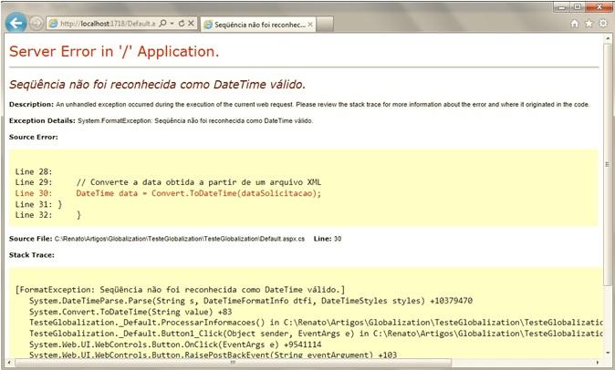 Erro de conversão em uma página ASP.NET Web Forms