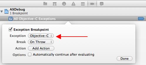 Criando o breakpoint para exceções em Objective-C