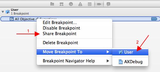 Breakpoints compartilhados e de usuários