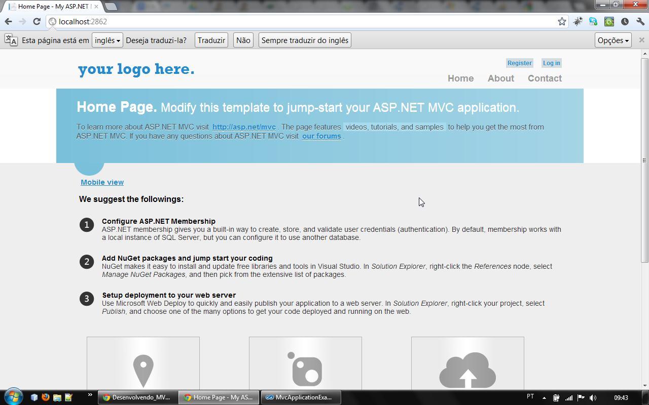 Pagina inicial no Desktop