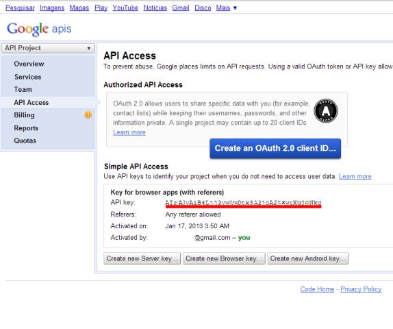 Chave de acesso aos serviços do Google