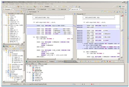 Um programa COBOL no Eclipse, onde se lê um código em SQL.