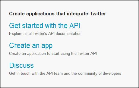 Página de aplicativos do twitter