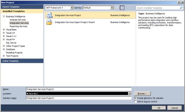 Template de Projetos do Integration Services no Shell do Visual Studio 2010