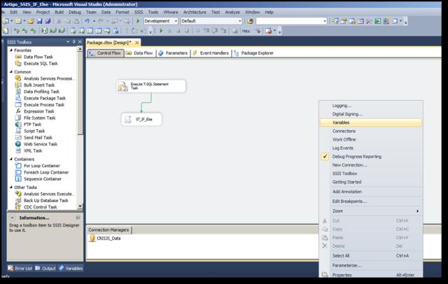 Selecionando as opções Variables na Tela do Visual Studio