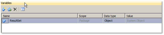 Criando as variáveis que serão utilizadas no Script Task