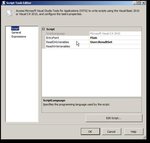 Selecionando as variáveis que serão utilizadas no Script Task