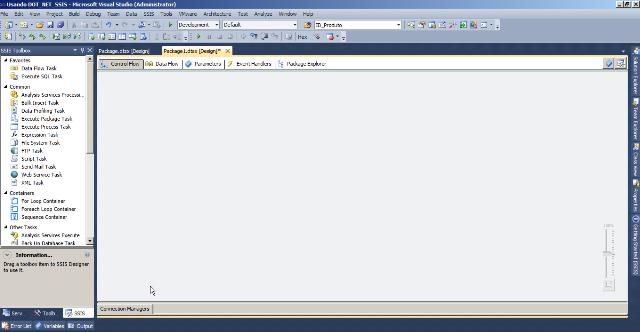 Um Projeto do Integration Services aberto no Visual Studio 2010