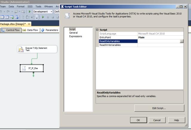 Editando o componente Script Task