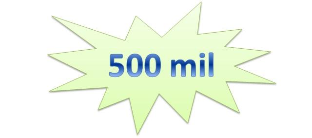 500 mil usuários cadastrados
