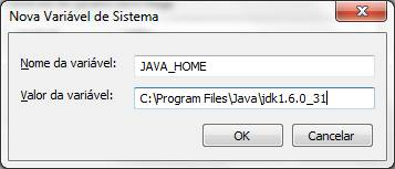 Configurando a casa do Java (JAVA_HOME)