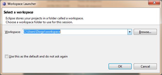 Selecionando workspace Eclipse