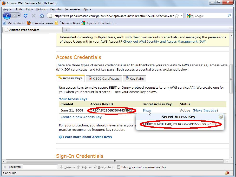 Recuperando as credenciais Access Key ID e Secret Access Key