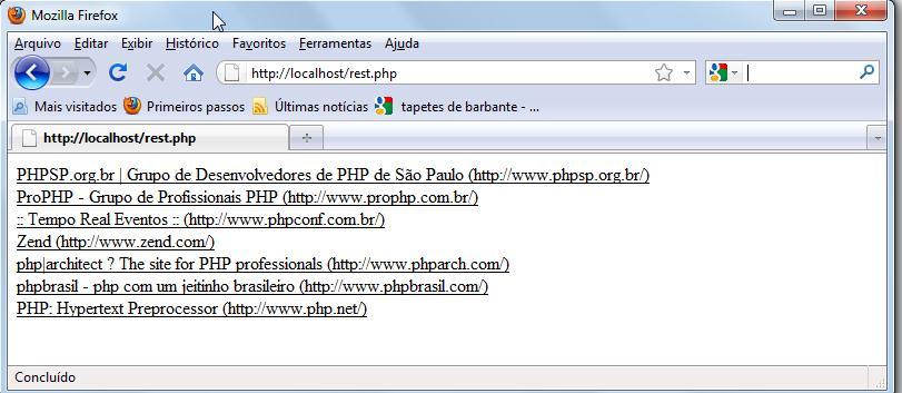 Página de retorno do web service