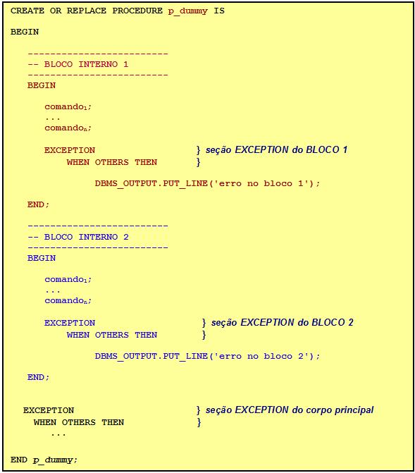 Programa com dois blocos internos