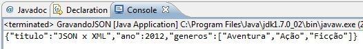 Resultado da execução do programa GravandoJSON