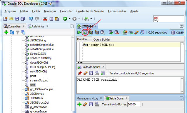 Execu��o do script de cria��o do cabe�alho do package no SQL Developer