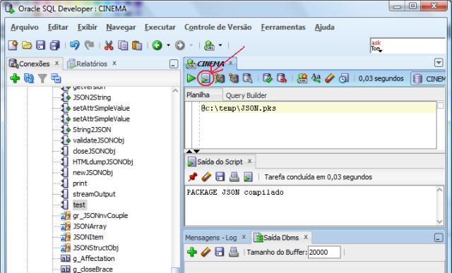 Execução do script de criação do cabeçalho do package no SQL Developer