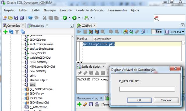 Execução do script de criação do corpo do package no SQL Developer (clique em Cancelar)