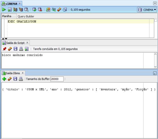 Resultado da execução da procedure Oracle2JSON
