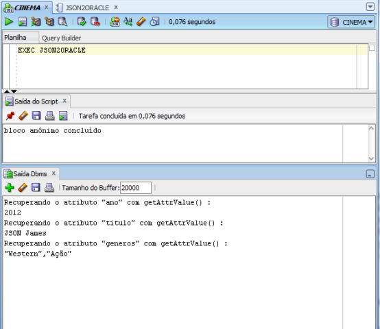 Resultado da execução da procedure JSON2Oracle