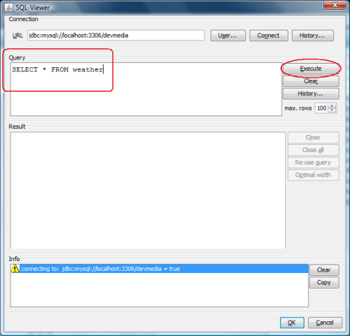 Especificação dos dados a serem minerados a partir de uma consulta SQL