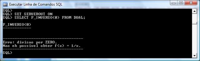 Execução da Função f_inverso com o parâmetro 0