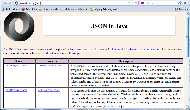 "Web site do pacote ""org.json"""