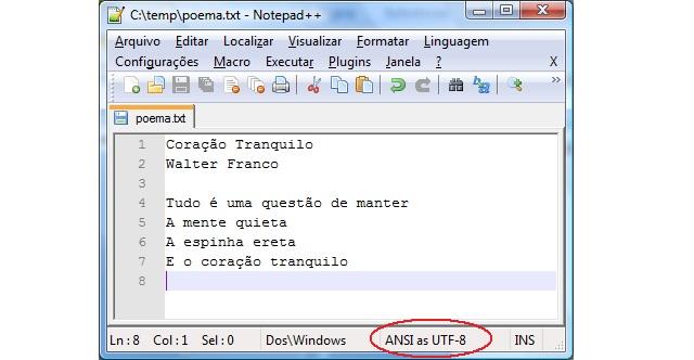 Arquivo texto com encoding UTF-8