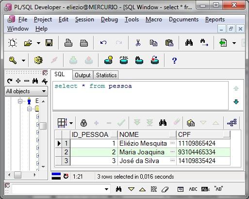 Select na tabela Pessoa no programa PL/SQL Developer