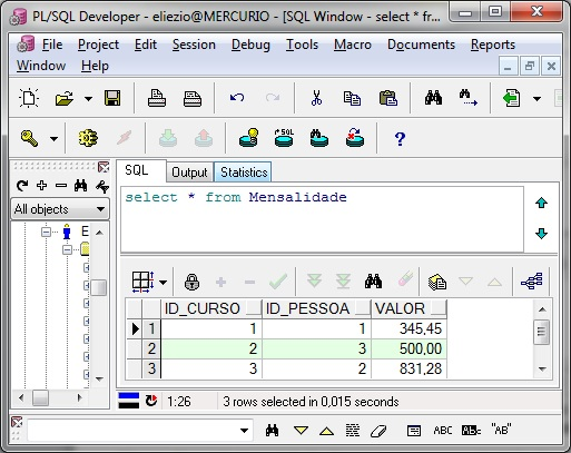 Select na tabela Mensalidade no programa PL/SQL Developer