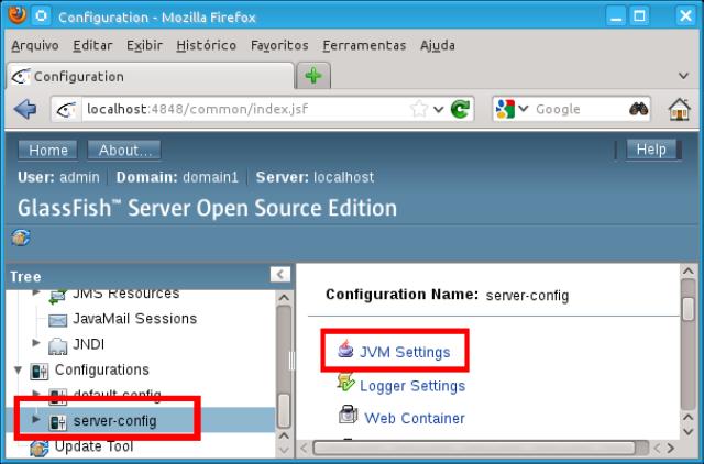 Alterando as configurações da JVM no console de administração
