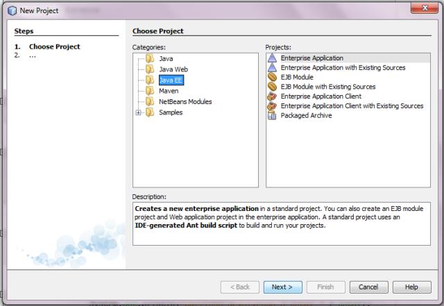 Tela Criando um Projeto Enterprise Application