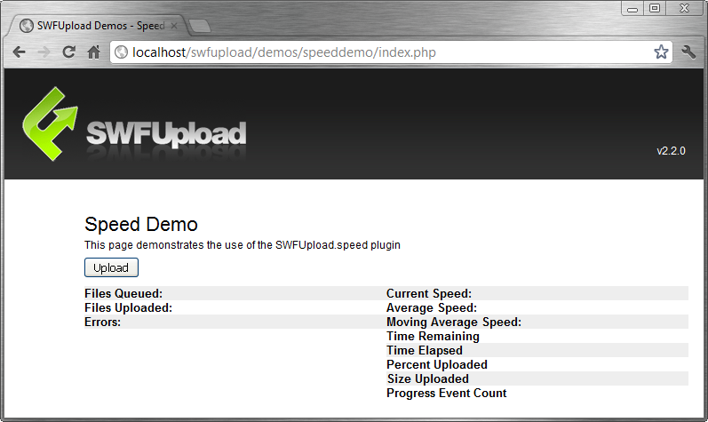 Tela do plugin SWFUpload.Speed