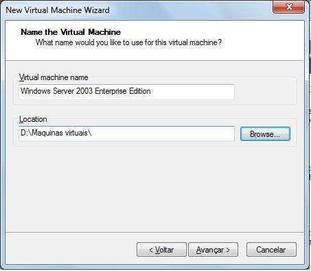 Selecione o nome da máquina virtual e selecione o diretório onde será armazenado o arquivo de configuração da VM.