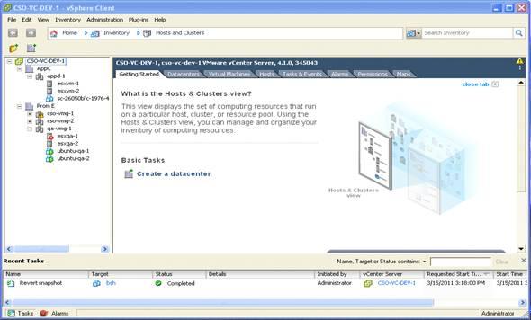 Tela de exibição dos servidores na ferramenta VMware vShere client