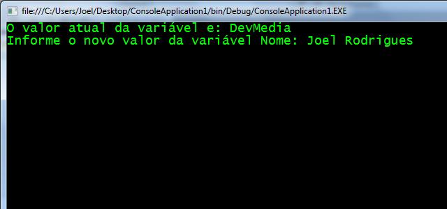 Definição de novo valor para a configuração