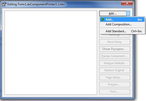 Tela inicial de edição do dxComponentPrinter