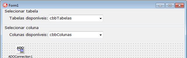 ComboBox para listar as colunas