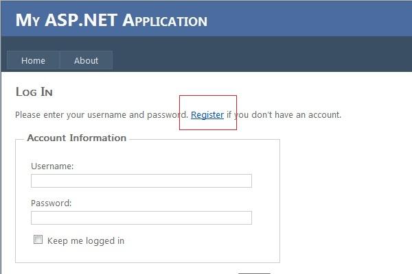 Opção Register para criar nova conta