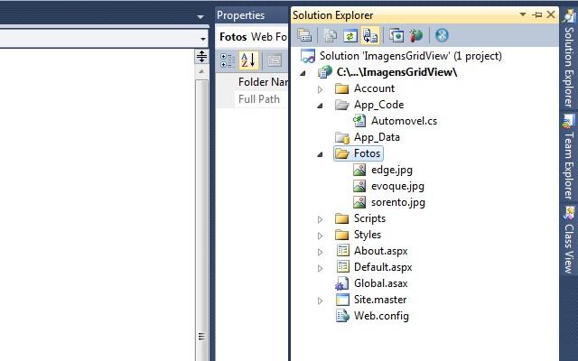 Solution Explorer com imagens adicionadas