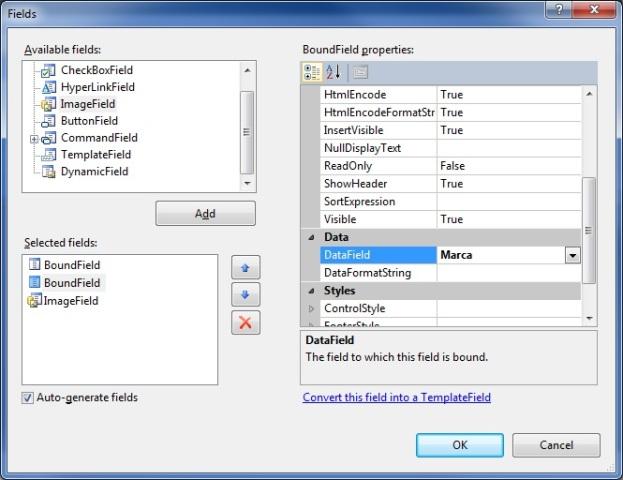 Alterando a propriedade DataField dos BoundFields