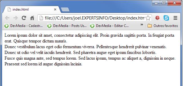 Texto com quebras de linha no browser