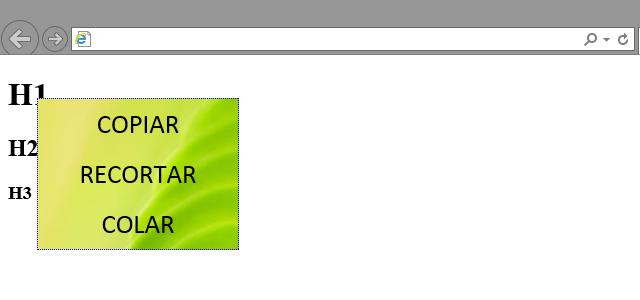 Menu exibido ao clicar com a direita no elemento h1