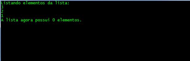 Resultado do exemplo com a classe Stack