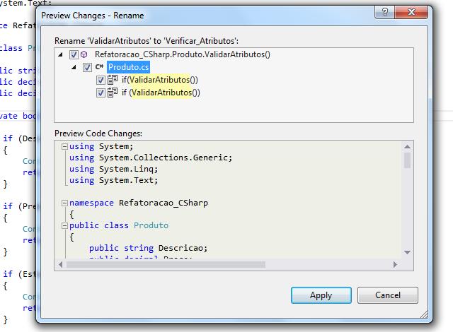 Pré-visualização de mudanças no código