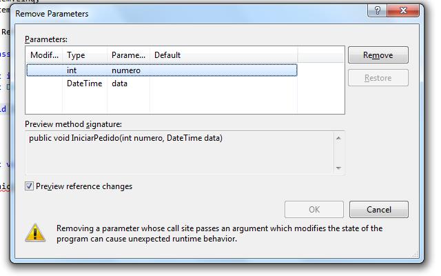 Removendo parâmetros de um método