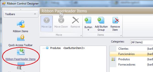 Adicionando itens ao cabeçalho do ribbon